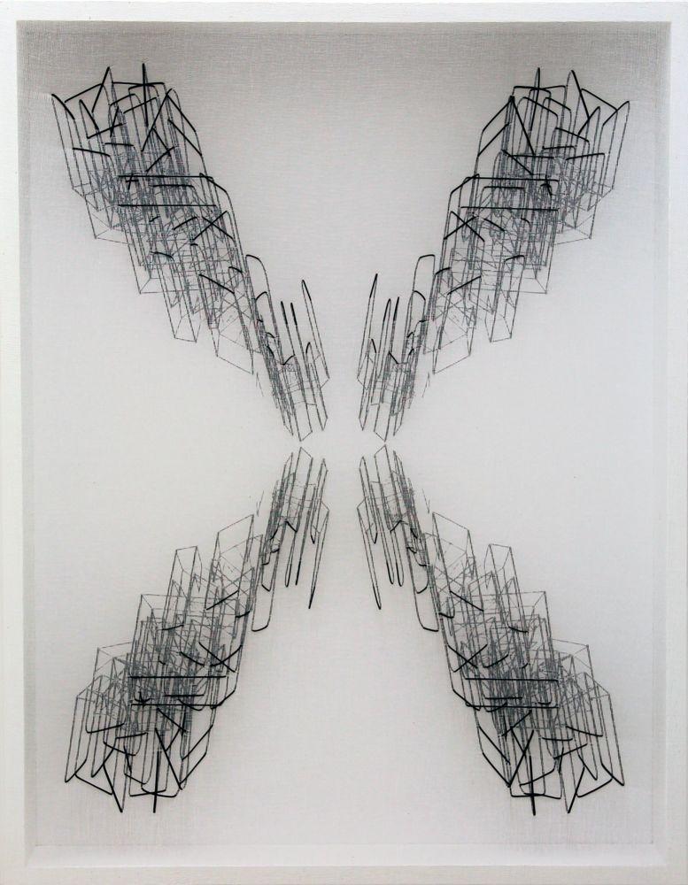 Speculare con punto interrogativo, tarlatana e filo elastico su tela serigrafata, 90x70x10, 2013