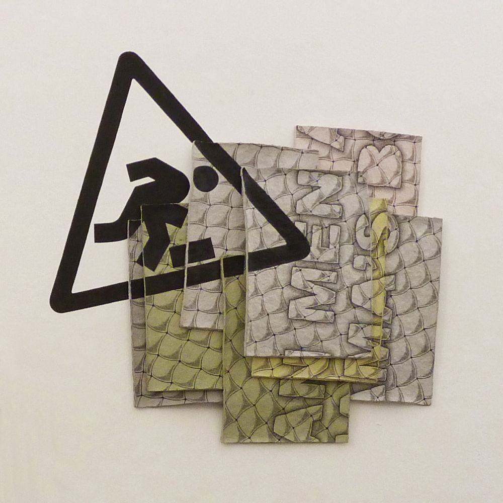 Tripping hazard (italian men are all mama's boys), 2012, pastello e tempera su cartapesta e su muro (8 fogli), 78x81 cm