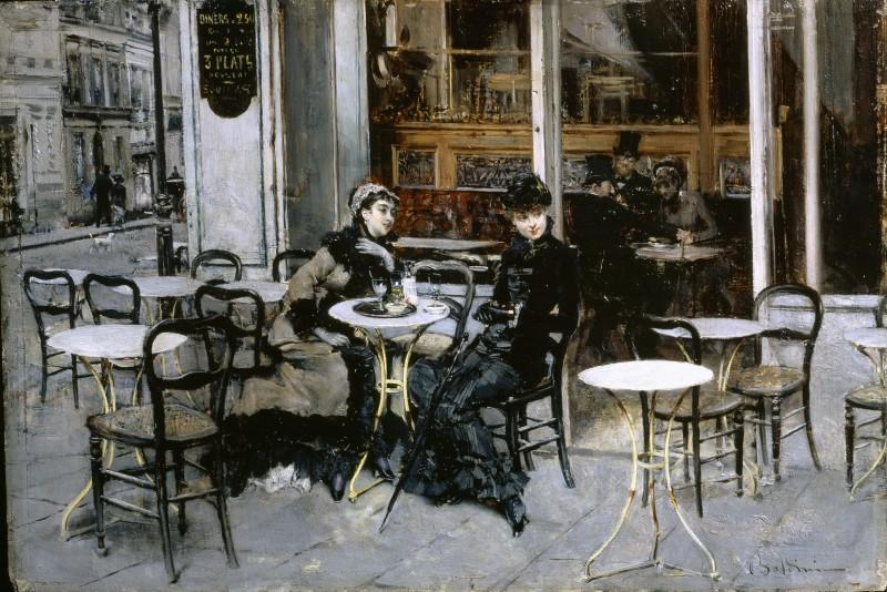 Giovanni Boldini, Conversazione al caff+®, 1879 ca, olio su tavola. Collezione Privata