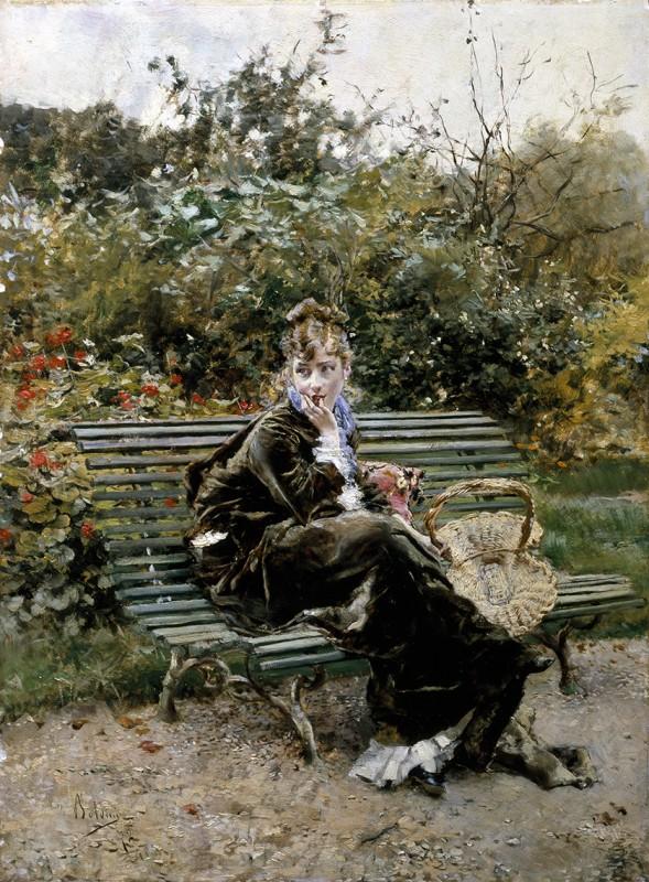 Giovanni Boldini, Sulla panchina a Bois, 1872,olio su tavola. Collezione Privata