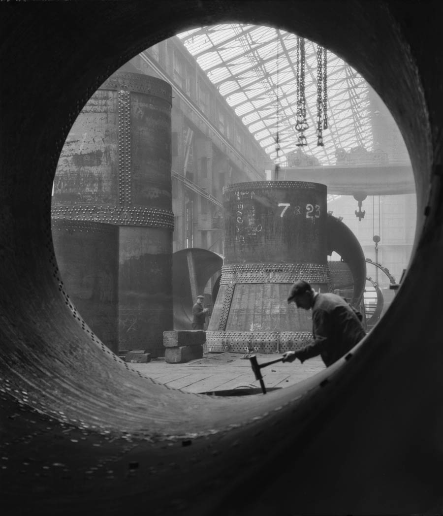 MAST GALLERY-HOPPE-Rotary-Kilns-Under-Construction-in-the-Boiler-Shop-Vickers-Armstrong-Steel-Foundry-Tyneside