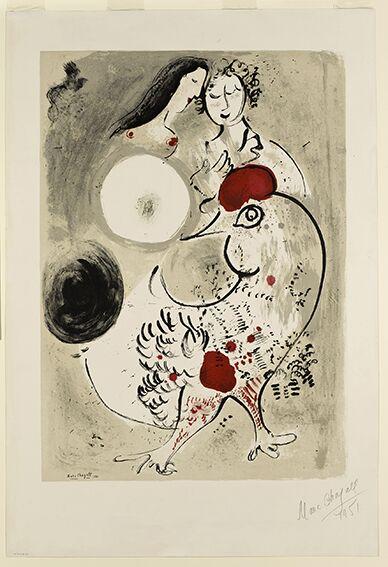 3-Chagall Coppia di amanti e un gallo