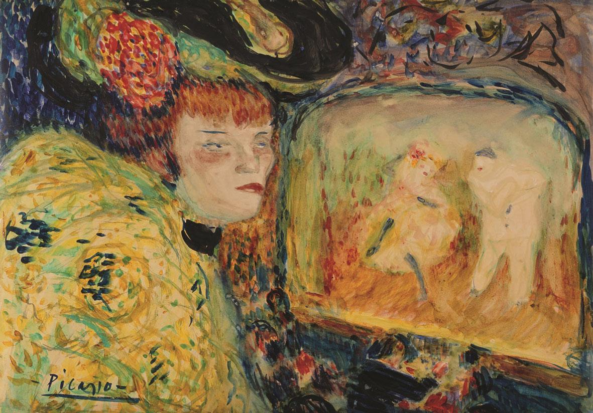 La rosa di fuoco 2-Pablo Picasso Donna a teatro (Le Divan japonais), 1901 Acquerello e gouache su cartone, cm 39 x 53 Collezione privata -® Succession Picasso, by SIAE 2015