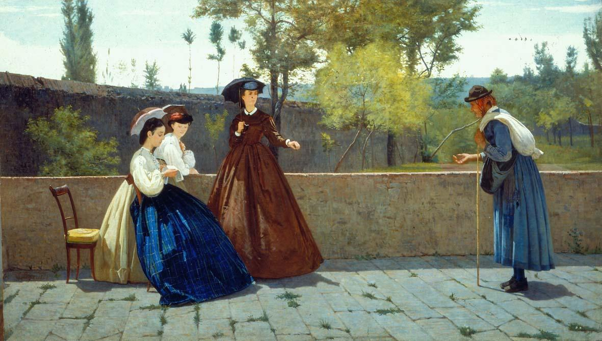 Silvestro Lega, LÔÇÖelemosina, 1864, olio su tela, cm 71,8x124, collezione privata