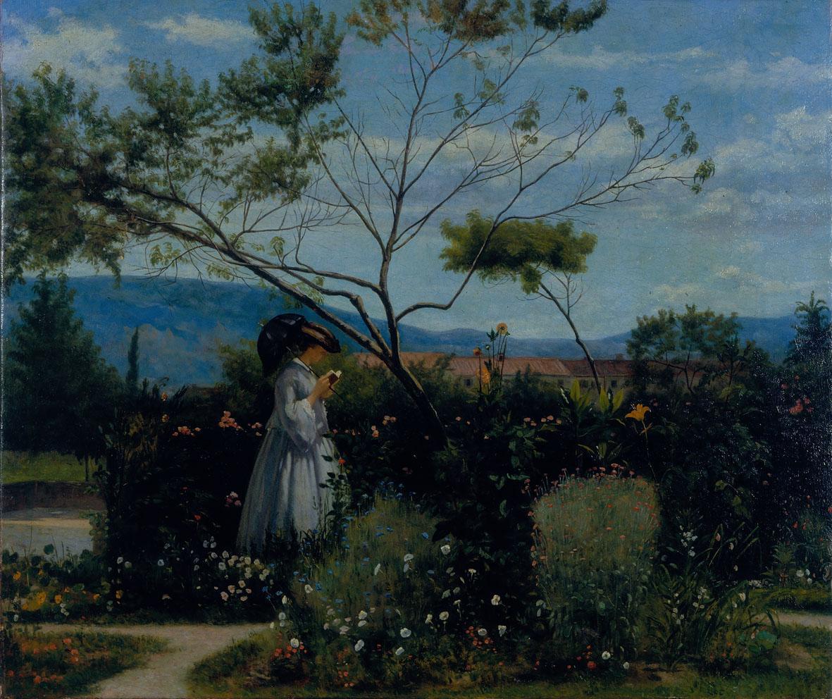 Silvestro Lega, Tra i fiori del giardino, 1863, olio su tela, cm 49,5x59, collezione privata