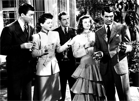 THE PHILADELPHIA STORY, from left: James Stewart, Ruth Hussey, John Howard, Katharine Hepburn, Cary Grant, 1940