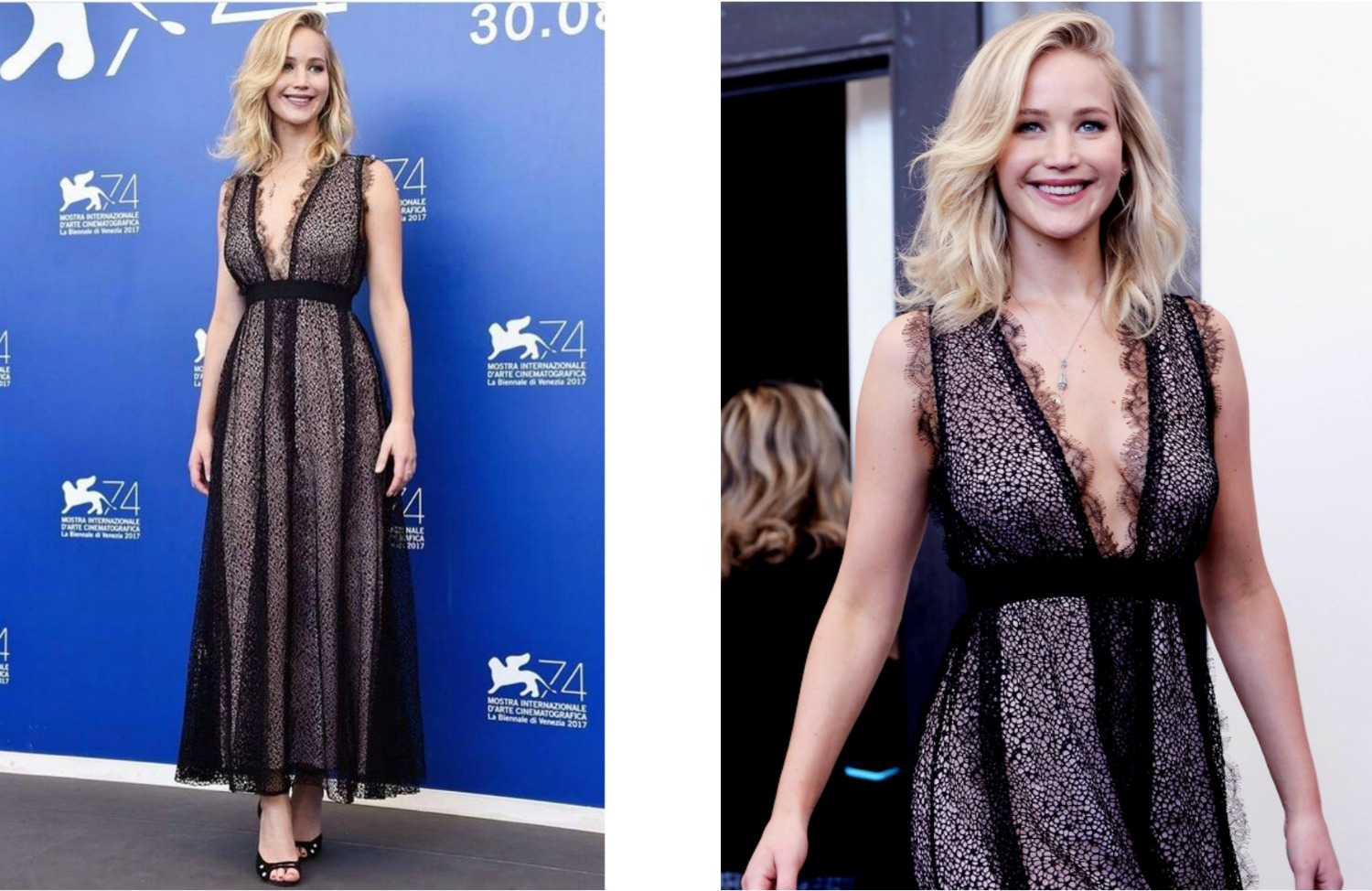 Jennifer Lawrence in Giambattista Valli Resort'18 al photocall di Mother alla 74ma Mostra del Cinema di Venezia
